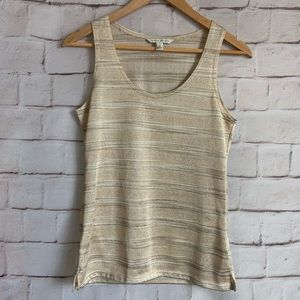 Banana Republic Tank Top, Stripes, Metallic, XS